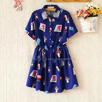 Free shipping+ E9030-2014 women's turn-down collar furniture print short-sleeve slim waist dress 0421