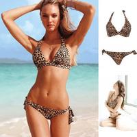 New 2014 summer swimwear women leopard print swimsuit Bandeau push up bathing suit womens beachwear bather sexy bikinis set 0328