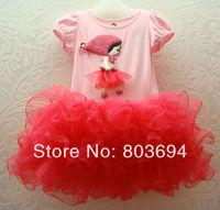 Free shipping  Wholesale Children girl Ball Gown short sleeve with a little girl lovely Pattern baby girl children dress5pcs/lot