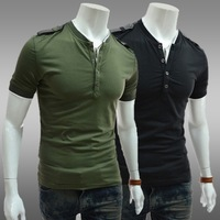 HOT2014Classic epaulet decoration male color block basic shirt round neck short-sleeve slim T-shirtFree shipping
