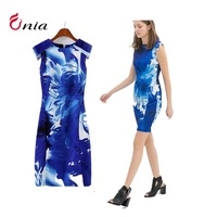 Free shipping new 2014 spring summer blue print round collar sleeveless knee-length bodycon women casual dress # 6457