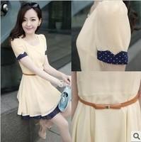 Free shipping+ 2014 chiffon  summer ol elegant clothing slim green chiffon one-piece dress