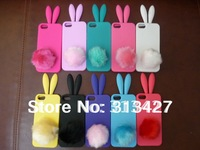 Free Shipping Retail Package Cute Colorful Bunny Rabbit Silicone Case cover For iPhone 5 5G