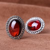 Silver 925 pure silver vintage thai silver garnet stud earring in ear earring Women 925 silver -