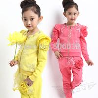 Children's clothing female child 100% cotton 2014 spring child o-neck puff sleeve outerwear exquisite embroidery gentlewomen set