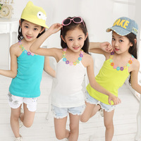 Children's clothing female child 2014 summer 100% all-match cotton vest gentlewomen spaghetti strap candy color laciness t-shirt