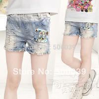 Children's clothing girls summer wear denim shorts 100% cotton casual gentlewomen sand shorts diamond all-match jeans
