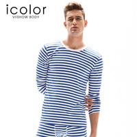 Icolor men's underwear o-neck stripe long johns set male underwear basic