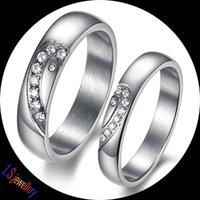 2PCS/Pair Titanium Stainless Steel Ring Set Heart Design Wedding Valentine Couple Lover Engagement Band