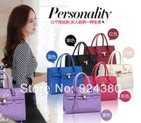 2014 women's bags fashion handbag cross-body fashion color block women's japanned  handbag