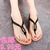 Women's fashion sandals  flats flip-flop fashion punk beaded sandals flat young girl shoes