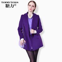 Sugar fashion purple 2013 turn-down collar medium-long wool woolen outerwear sheep wool coat