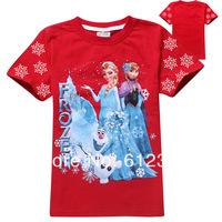 wholesale kids girls brand t shirts child summer frozen elsa princess t-shirts kids tops child clothes 6pcs/lot 14 colors