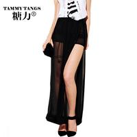 Tammytangs fashion bohemia chiffon high waist placketing full dress irregular skirt half-length full dress