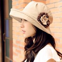 Momiton spring and summer female elegant flower sun hat quality sunbonnet
