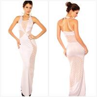 Fashion Lady's Floor-Length U Shape Neck Sheath Sleeveless Hollow Out Dress