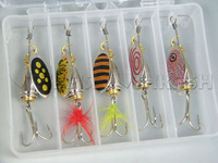 New! 5 Pcs IN Box 02T-2 8g Spinner Baits Assorted Kit Spinner Spoon Feather Baits Fishing Lure