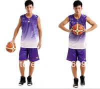 New Arrival 2014 Fashion Gradient Ramp Basketball Jersey+Shorts Reversible Men Summer Sport Clothing/Apparel 1 Set/lot Free Ship