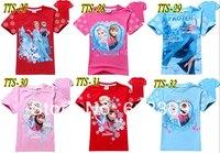 free shipping new 2014 summer baby girls frozen t shirts kids short sleeve casual tops child frozen elsa princess t-shirts