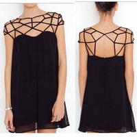 New 2014 S-Xl Hollow Out European Chiffon Novelty Dresses Black Mini High Street Free Shipping Cad1006