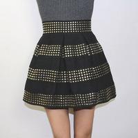 Women dresses fashion punk rivet stripe lantern skirt pleated skirt puff skirt short skirt