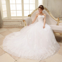 Wedding dress 2014 new free shipping bride sweet lace strap tube top train princess slim