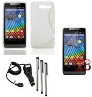 TPU Case Cover+Charger+LCD+Pen For Motorola RAZR D3 XT919 XT920
