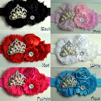 Baby Girl Headband Shabby Chiffon Cluster Flowers with Princess Tiara Crown Headband Hair Accessories set of 6