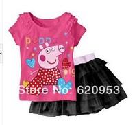 Retail spring / autumn New Children Girl's Sets Skirt Suit peppa pig dress baby Clothing sets shirt + skirt girls clothes set