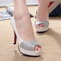 2014 sandals sexy patchwork thin heels single pumps elegant paillette platform ultra high heels open toe women's shoes