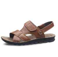 Trend summer male leather sandals casual sandals men's breathable plus size cutout slippers size 38-44