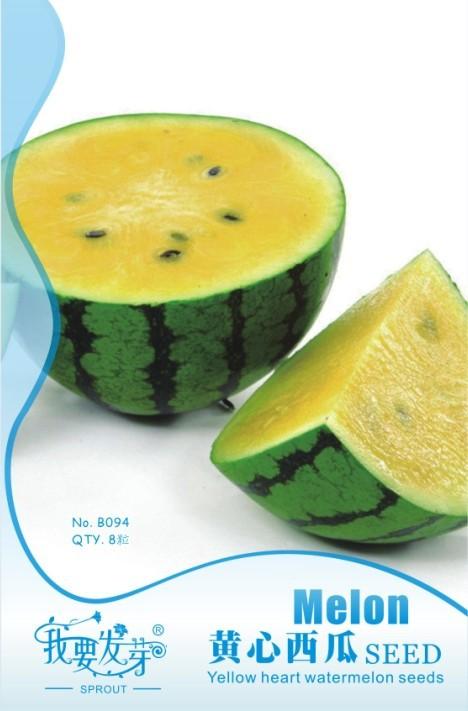 Mix minimun $5 Hot selling Small Yellow Water Melon Seeds, Original Package 8 pcs Fruits Watermelon Seeds(China (Mainland))