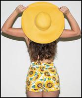 Free Shipping! Sunflower Print High Waist Denim Shorts /Hot Pant Size 23-29