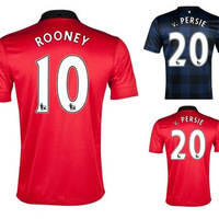 Free shipping 2013/14 england Manchester blank mens football soccer jerseys embroidery customize logo home red