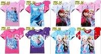 New Baby girls summer short sleeve cotton t shirts kids frozen cartoon elsa princess tops girls frozen kids t-shirts