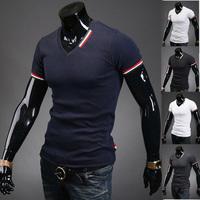 Free shipping new summer 2014 men's fashion casual men's T-shirt short-sleeved V-neck T-shirt
