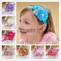 Newborn Shabby Flower Headbands With Pearl Diamond Elastic Headband Hair Accessories Infant Rose Flower Pearl Hairbands Headwear