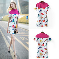 2014 spring and summer star with money to fight bird color collar short sleeve dress wholesale