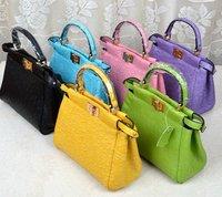 F peekaboo star style mini ostrich cowhide women's handbag kitten bags