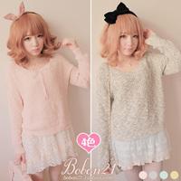 Princess sweet lolita sweater Macaron bobon21 behind the aesthetic t0893 lace sweater  lolita clothing