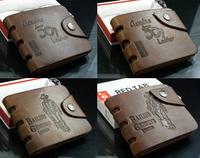 10 styles,Special promotion men's wallet & fine bifold Brown Genuine leather top purse wallet for men wholesale