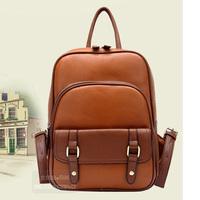 wholesale 2014 New Korean fashion PU student backpack fashion leisure bag retro leather bags for women men good quality