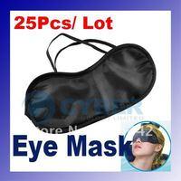 Wholesale 25Pcs/ Lot Eye Cover Blinder Mask Shade Eyepatch Blindfold Black for Travel Sleeping Rest