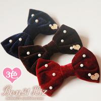 Princess sweet lolita hairaccessories hairpin bow Bobon21 winter new arrival pearl velvet bow hairpin ac0957