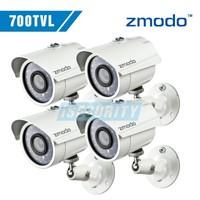 Zmodo CCTV surveillance security Cameras CMOS 700tvl 960H 4pcs/lot 24pcs IR leds night vision waterproof outdoor camera
