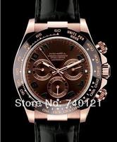 Men's Everose Gold Ceramic Bezel Daytona Watch Cosmograph Chocolate Arabic Dial Model 116515 Leather Strap Watches