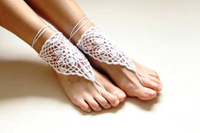 Sexy White crochet barefoot sandals/Bridesmaid accessory/Yoga shoes/ Beach accessory/Beach wedding/Belly dance/Anklet 5pair