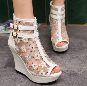 2014 лето клинья пряжки ремня сандалии марли выдалбливают ...