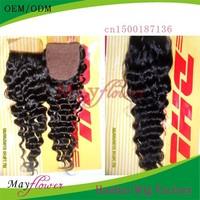 silk top closure 100% virign human  hair deep wave bleached knots wholesales price
