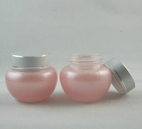High quality  20g Pink Glass Bottle Eye Cream Bottle Cosmetic Jar Make Up Jar with Aluminum Cap Wholesale